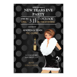 New Years Eve Fashion Girl Holiday Dress Card