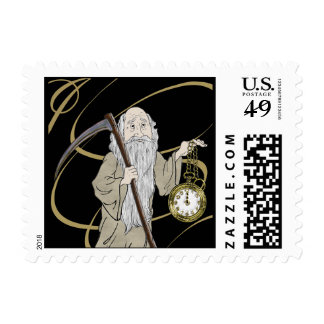 New Years Eve Father Time and his Clock Postage Stamp