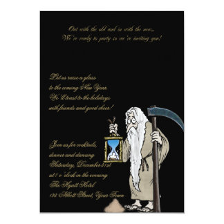New Years Eve Father Time and the Sands of Time Custom Invitations
