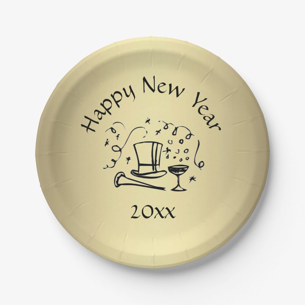 New Years Eve Gold Dated Paper Plate