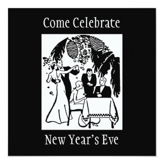 New Years Eve 5.25x5.25 Square Paper Invitation Card