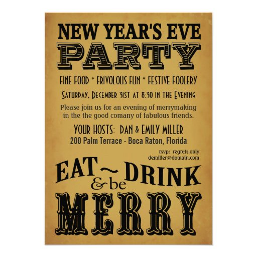New Years Eve Invitations Vintage Playbill