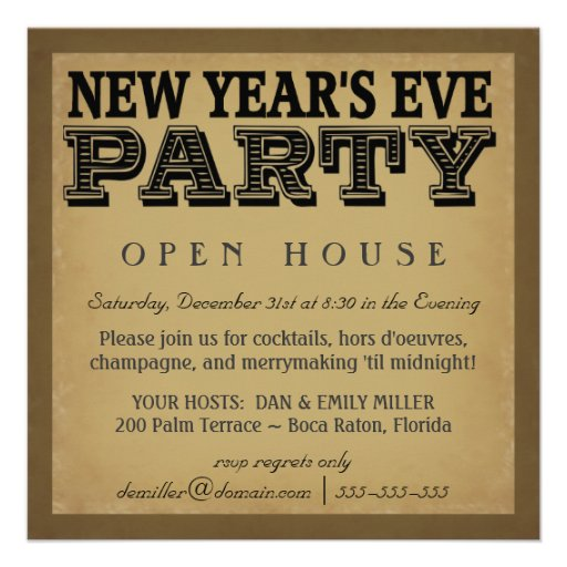 New Years Eve Invitations - Vintage Woodcut