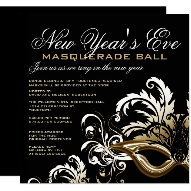 New Years Eve Masquerade Ball Invitations | Zazzle.com