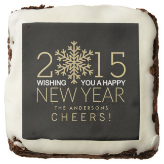 New Year's Eve Modern Snowflake Holiday Brownies Square Brownie