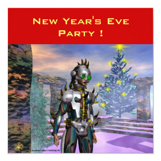 NEW YEAR'S EVE OF A CYBORG 5.25X5.25 SQUARE PAPER INVITATION CARD