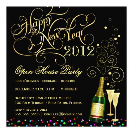 New Year's Eve Open House Party - Black and Gold Custom Invitation