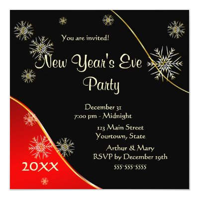 New Year's Eve Party 2015 Personalized Invitation Card