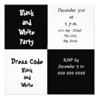 New Years Eve Party Black and White Party Invite