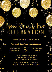 new years eve party black gold balloon confetti invitation