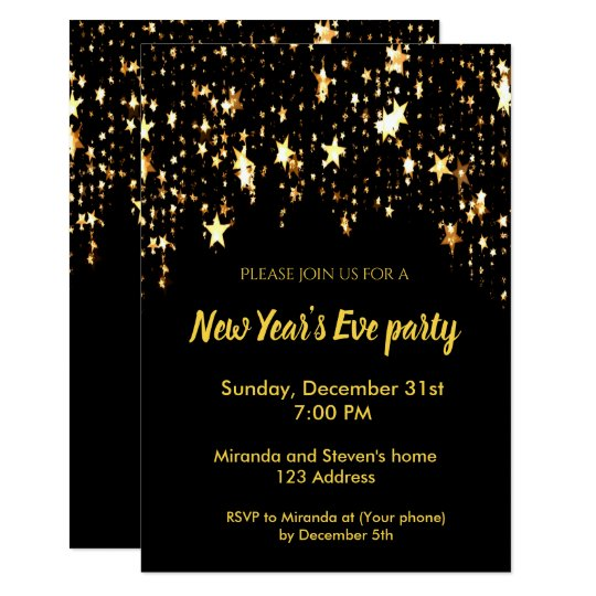 New Year S Eve Party Black Invitation Card Stars