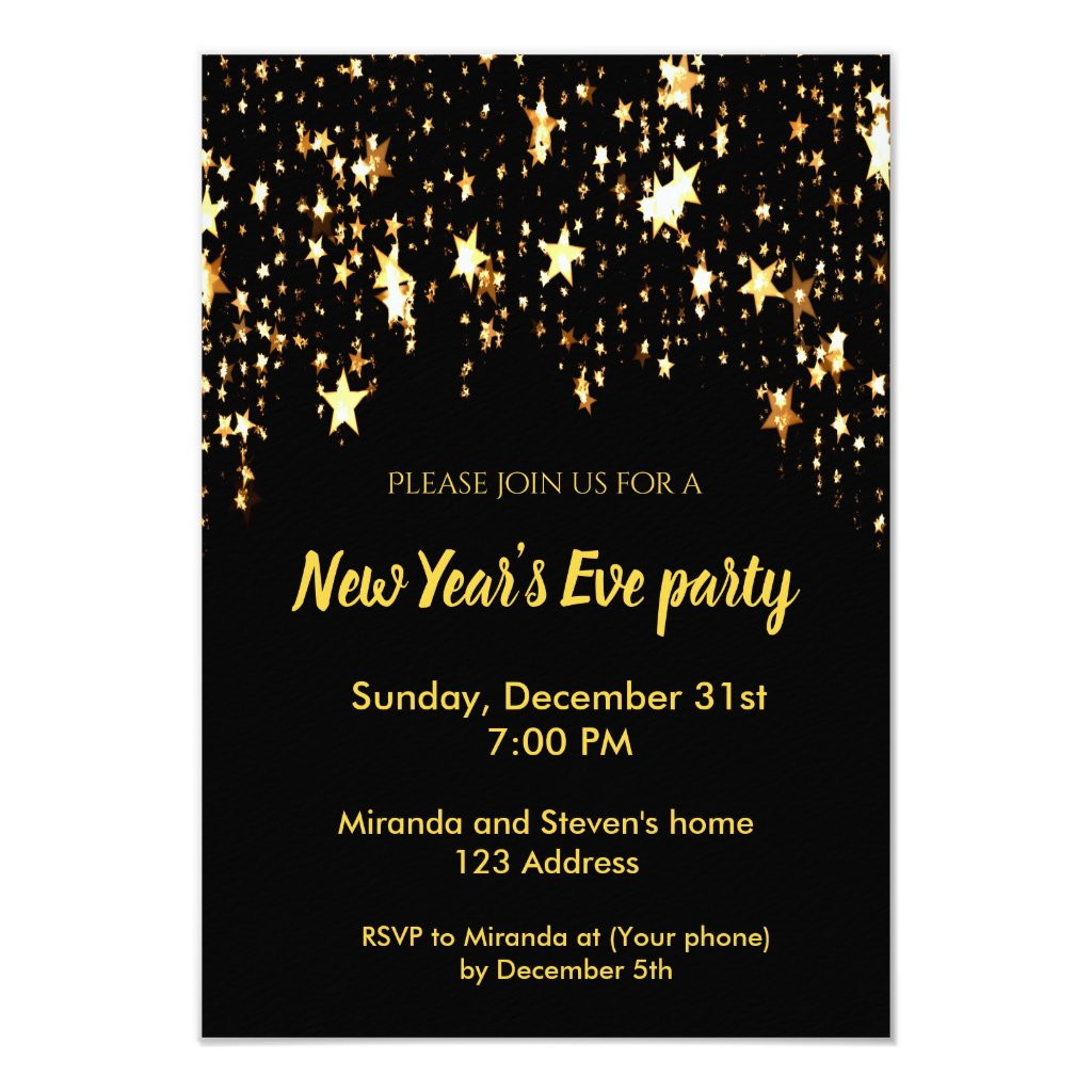 New Year's Eve party black invitation card stars