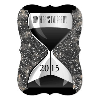 New Year's Eve Party Black Sparkles Hourglass 5x7 Paper Invitation Card