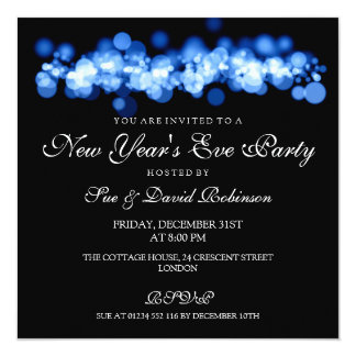 New Year's Eve Party Blue Bokeh Lights Card