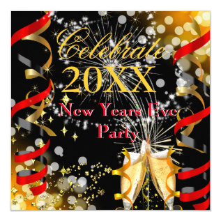 New Years Eve Party Champagne Festive Red Gold Card at Zazzle