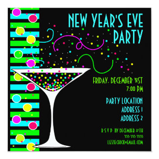 New Years Eve Party Confetti Cocktail Invitation