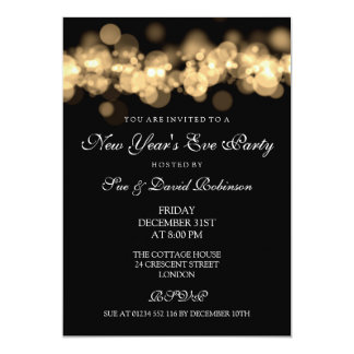 New Year's Eve Party Gold Bokeh Lights 5x7 Paper Invitation Card