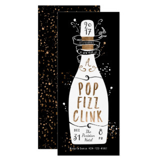 New Year's Eve Party Gold Champagne Pop Fizz Clink Card