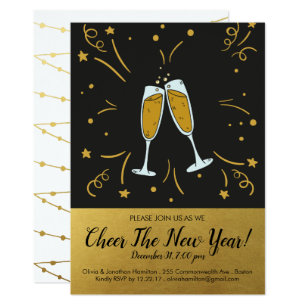 new years eve party gold cheer champagne toast invitation