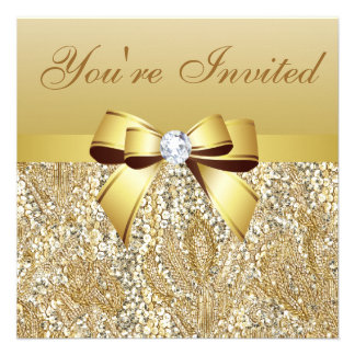 New Year's Eve Party Gold Sequins & Bow Invites