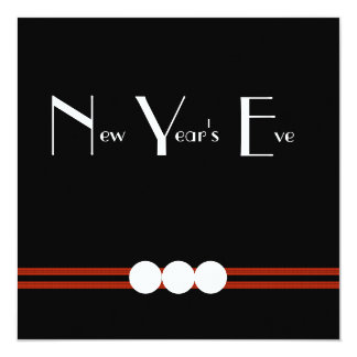 New Years Eve Party in Black and White Custom 5.25x5.25 Square Paper Invitation Card