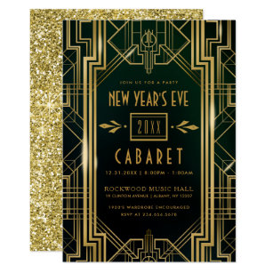 new years eve party invitation 1920s cabaret