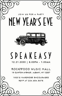 new years eve party invitation 1920s speakeasy