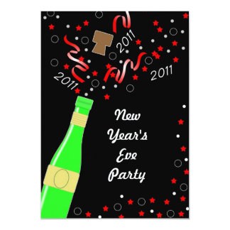 New Year's Eve Party Invitation, Champagne Bottle,