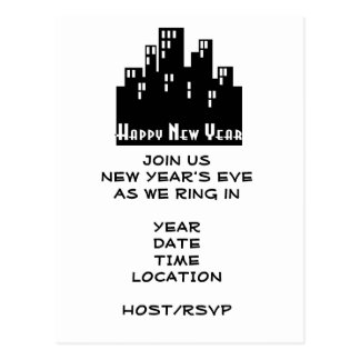 New Year's Eve Party Invitation-City Scene Postcard