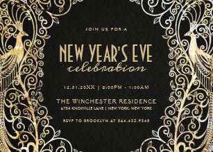 new years eve party invitation golden peacock