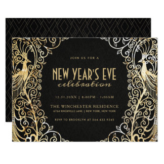 NEW YEAR'S EVE PARTY INVITATION | Golden Peacock