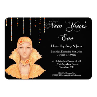 New Year's Eve Party Invitation Golden Retro Woman