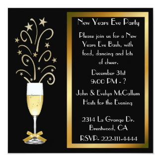 """New Years Eve Party Invitations 5.25"""" Square Invitation Card"""