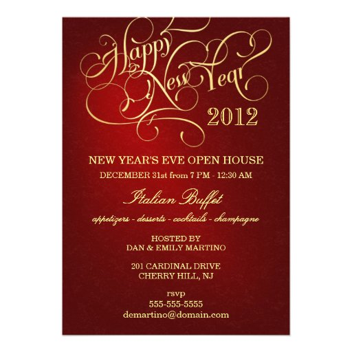 New Year's Eve Party Invitations - Elegant Red