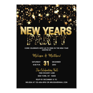 NEW YEAR'S EVE Party Invitations Gold Glitter