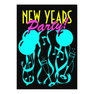 New years eve party invitations | Neon colors