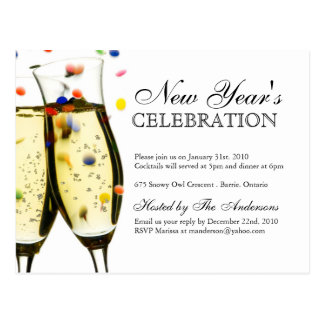 New Years Eve Party Invitations Postcards