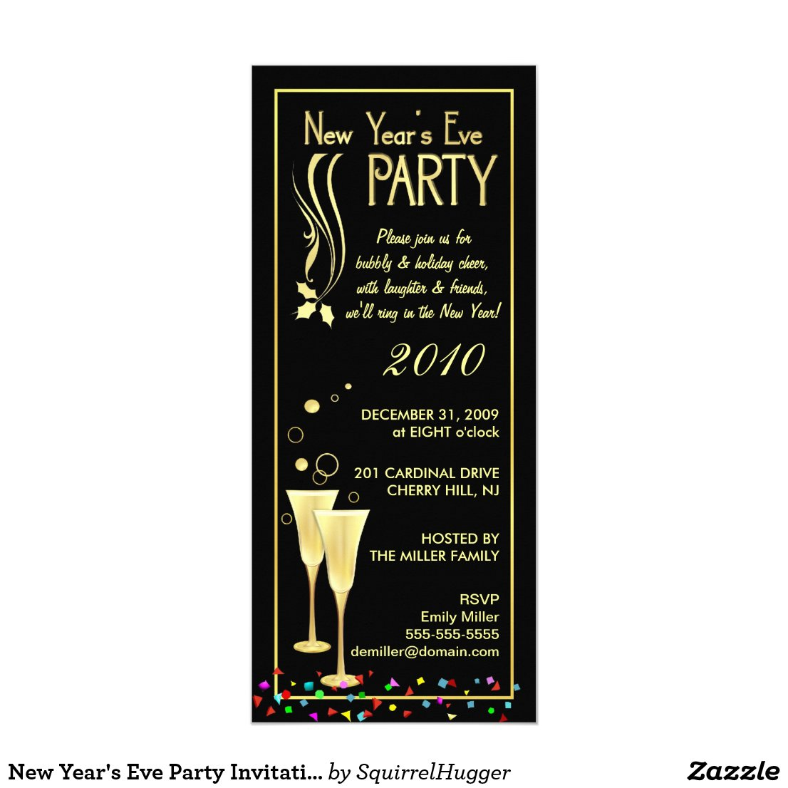 New Year's Eve Party Invitations - Slim Cards