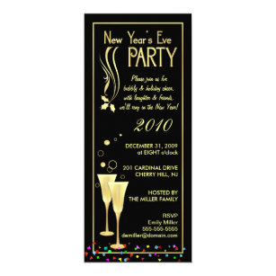 new years eve party invitations slim cards