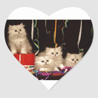 New Year's Eve Party Kittens Heart Sticker