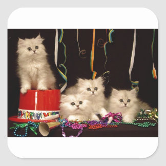 New Year's Eve Party Kittens Square Sticker