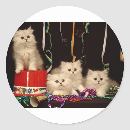 New Year's Eve Party Kittens Round Sticker