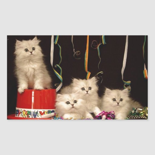 New Year's Eve Party Kittens Rectangle Stickers