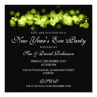 New Year's Eve Party Lime Bokeh Lights Card