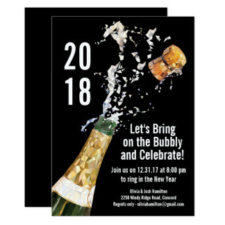 New Year's Eve Party Modern Champagne Bubbly Card