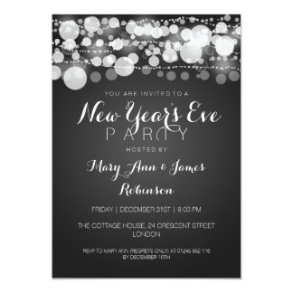 New Year's Eve Party Modern Dots Black 5x7 Paper Invitation Card