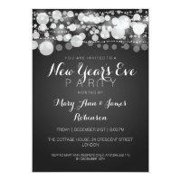 New Year's Eve Party Modern Dots Black Card