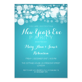 New Year's Eve Party Modern Dots Turquoise Card