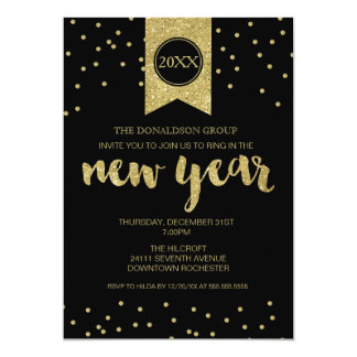New Year's Eve Party, New Year, Gold Glitter Black Card