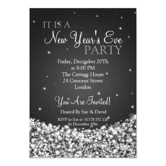 New Years Eve Party Night Sparkle Black 5x7 Paper Invitation Card